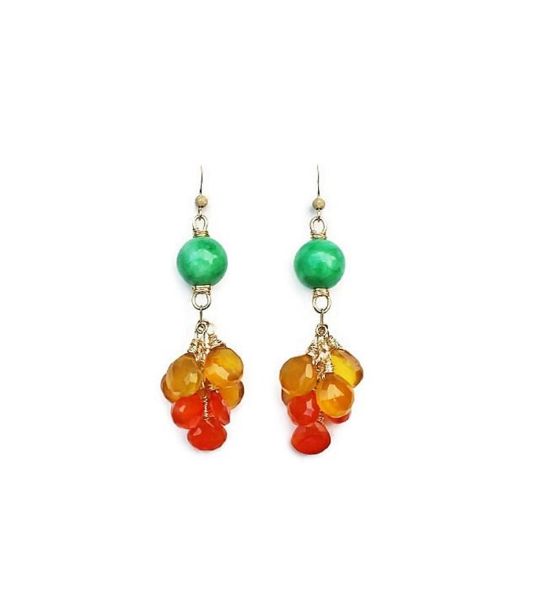 green yellow orange jewelry large statement earrings multi gem colorful earrings Jade-Chalcedony-Carnelian 14K Gold Filled Earrings