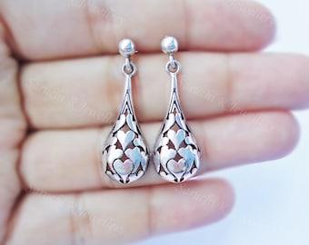 Heart Silver Dangles, Rustic Silver jewelry,antique earrings, exotic jewellery, boho earrings, hippie earrings, silver filigree, mothers day