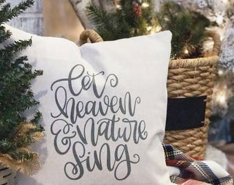 Joy to the World Farmhouse Pillow Cover | Let Heaven & Nature Sing Christmas Pillow Cover | Farmhouse Throw Pillow | Rustic Christmas
