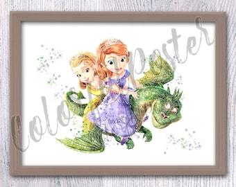 Disney princess Sofia art print Sofia and Amber watercolor poster Disney princess wall decor Nursery room decor Kids room wall art V380