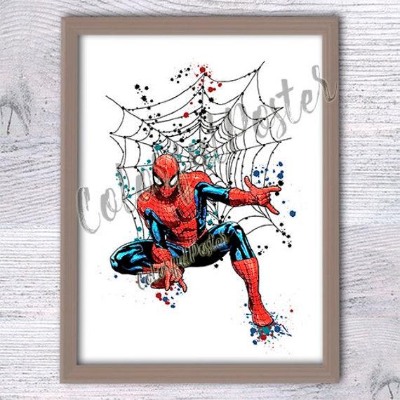 Spiderman Print Marvel Superhelden Plakat Kinderzimmer Wandkunst Jungen Zimmer Dekor Comic Buch Helden Spiderman Aquarell Poster Geschenkidee V247
