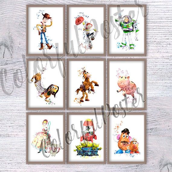 Set of 9 Toy story art print Wall hanging art decor Toy story | Etsy