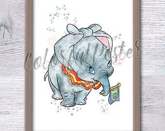 Dumbo The Elephant art poster Dumbo The Flying Elephant watercolor print Disney wall hanging decor Nursery wall art Kids room decor V162