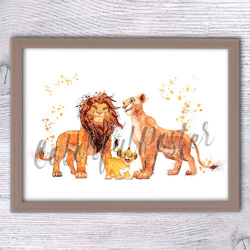 Lion King art print Lion King family watercolor poster Lion | Etsy