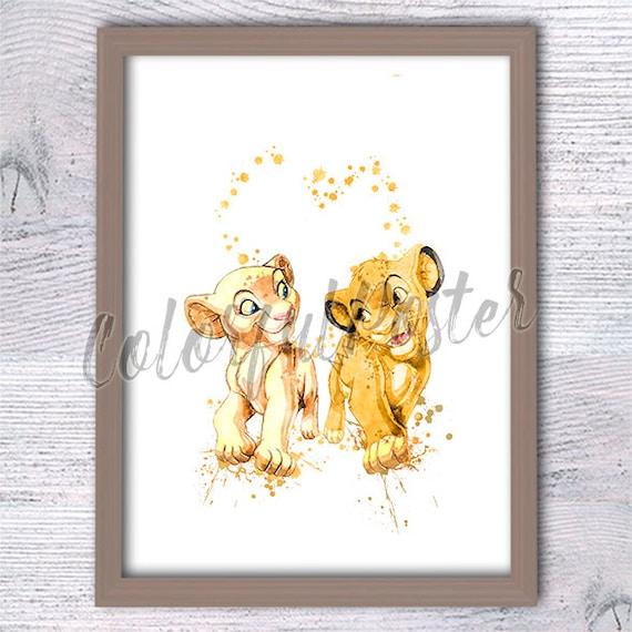 Lion King Family Newborn Simba Rafiki Mufasa Sarabi Watercolor Print Disney Art