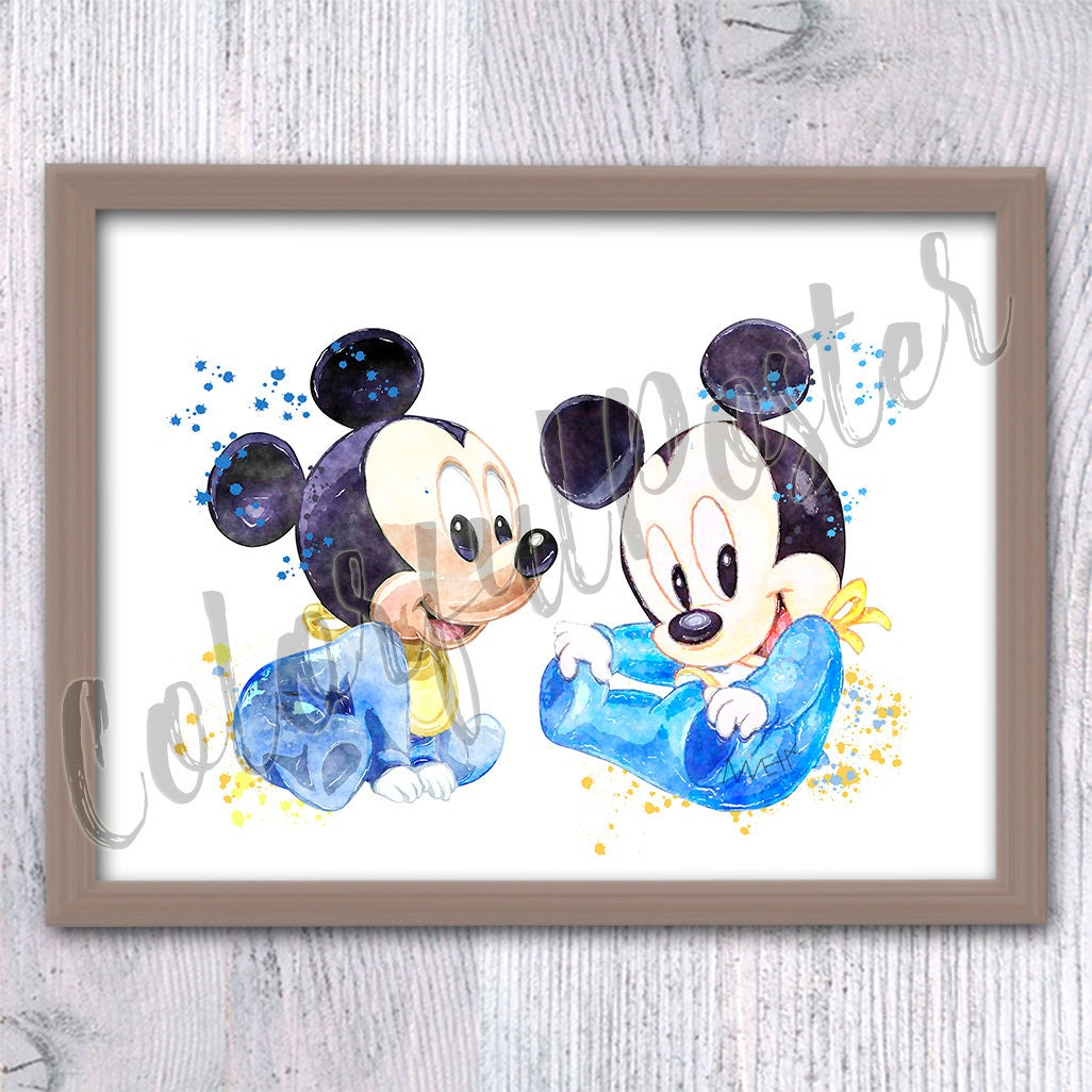 Mickey mouse poster mickey mouse baby print disney wall - Disney mickey mouse bathroom decor ...