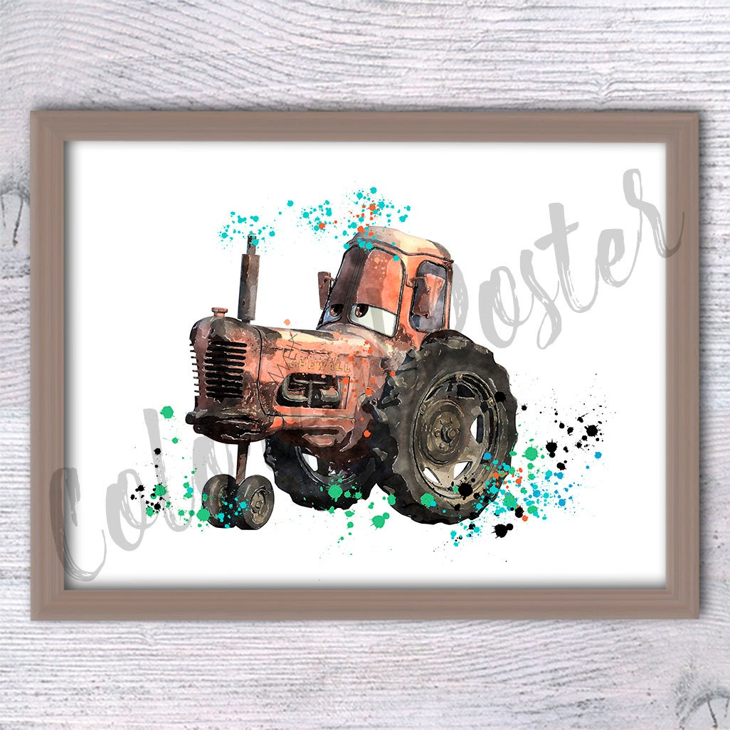 Disney Cars Tractor print Cars Disney watercolor poster Cars | Etsy