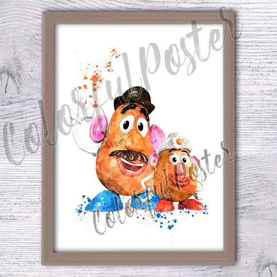 Toy Story Potato Head Poster Mr Potato Head Print Disney Wall Etsy
