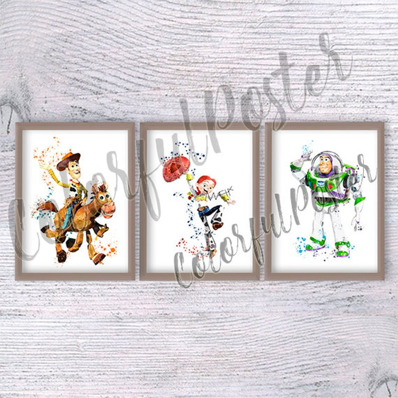 Bullseye Toy Story Wall Art Disney Watercolor Poster Home Room Decor UNFRAMED