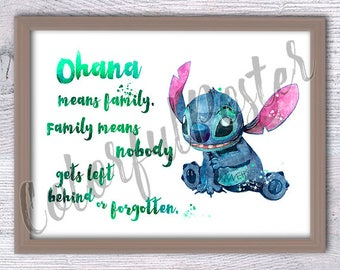 Stitch Ohana poster Disney Stitch watercolor print Disney wall decor Baby shower gift Child room decor Gift idea Lilo and Stitch poster V185