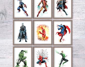 Superhero poster Set of 9 Superhero print Superhero wall decor Boys room decoration Kids room wall art Comic book heroes V365