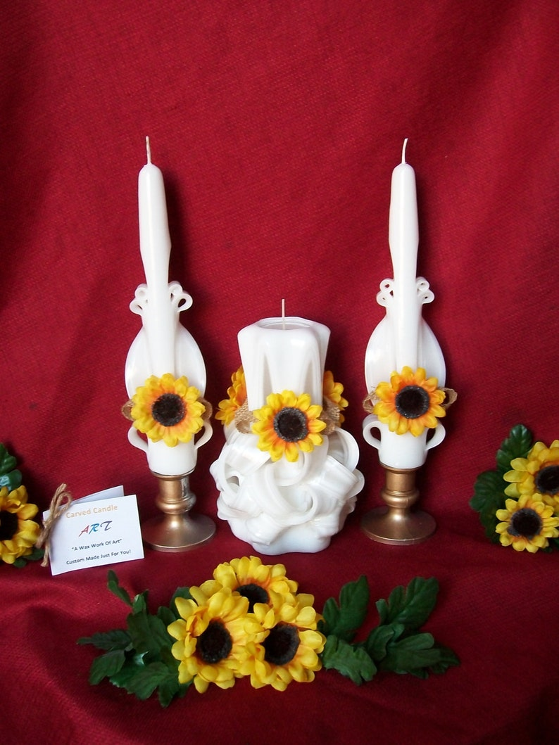 Sunflower Unity Candle Set - Hand Carved Candles - Summer Wedding Candles,  Refillable Tea Light, LED Glow Inset