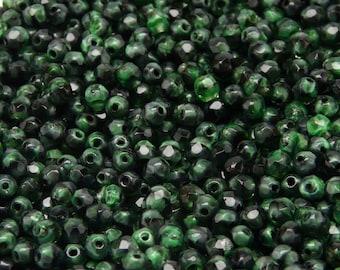 100pcs Czech Fire-Polished Faceted Glass Beads Round 4mm Jet/Dark Green Moonlight