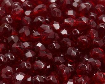 25pcs Czech Fire-Polished Faceted Glass Beads Round 7mm Garnet