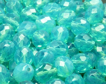 10pcs Czech Fire-Polished Faceted Glass Beads Round 10mm Green Aqua Opal