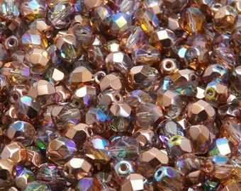 50pcs Czech Fire-Polished Faceted Glass Beads Round 6mm Crystal Cooper Rainbow