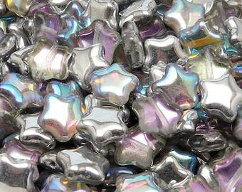 12pcs Czech Pressed Glass Star Beads 12mm Crystal Silver Rainbow