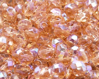25pcs Czech Fire-Polished Faceted Glass Beads Round 8mm Rozaline AB