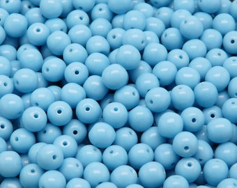 50pcs Czech Pressed Glass Beads Round 6mm Opaque Turquoise Blue