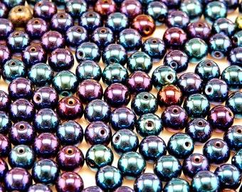 50pcs Czech Pressed Glass Beads Round 6mm Jet Blue Iris