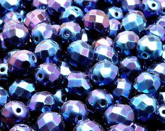 25pcs Czech Fire-Polished Faceted Glass Beads Round 8mm Jet Blue Iris