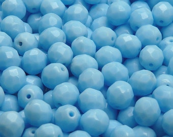 25pcs Czech Fire-Polished Faceted Glass Beads Round 8mm Opaque Turquoise Blue