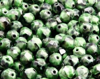 25pcs Czech Fire-Polished Faceted Glass Beads Round 8mm Emerald Jet Moonlight