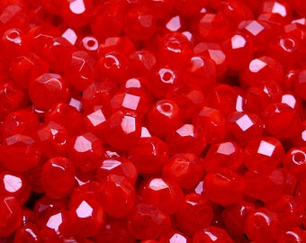 50pcs Czech Fire-Polished Faceted Glass Beads Round 6mm Ruby Opal