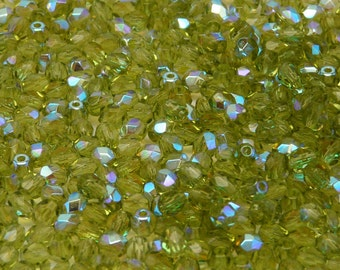 100pcs Czech Fire-Polished Faceted Glass Beads Round 4mm Olivine AB
