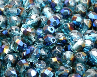 25pcs Czech Fire-Polished Faceted Glass Beads Round 8mm Aquamarine Azuro