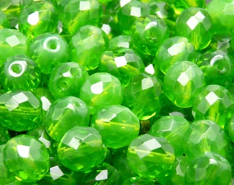 10pcs Czech Fire-Polished Faceted Glass Beads Round 10mm Green Opal