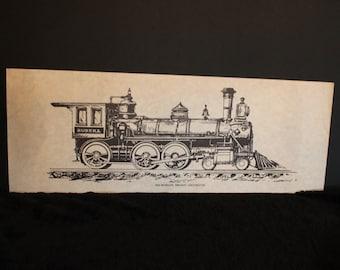 """Vintage Eureka dix roues fret Locomotive 9,5 """"x 25.5"""" Lithographie - croquis au crayon sur papier Style parchemin"""