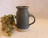 Vintage Blue Stoneware Studo Pottery 4.75 quot Creamer Pitcher - Jonathan Kelser C.S.C. Ohio Pottery, Excellent Condition