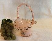 Antique Victorian Era Pink Glass Bride 39 s Basket
