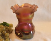 Antique Amethyst Iridescent Glass 6 quot Pinched Vase - Likely Loetz or Kralik