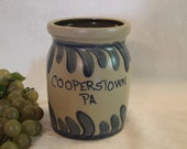Cooperstown, PA 5.5 quot Crock made by Beaumont Brothers Pottery, BBP of Roseville, Ohio, Excellent Condition