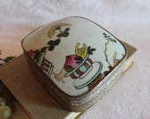 Chinese Hand Painted Porcelain Shard Silver Plate 5.5 quot Trinket or Jewelry Box