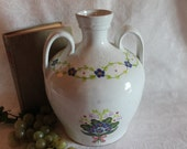 Beautiful MM Portugal Redware Double Handled Water Jug or Vessel Glazed White with Hand Painted Blue Flowers