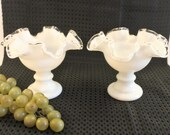 Set of 2 Fenton White Milk Glass Silver Crest Taper Candle Bowl Holders - Excellent Condition