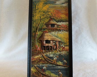 """Vintage South American Original Painting with 3D Accents in Excellent Condition - 21"""" by 9"""""""