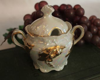 "Antique Porcelain 3"" Mustard Pot with Lid - Pearl White with Gold Accents in Excellent Condition!"