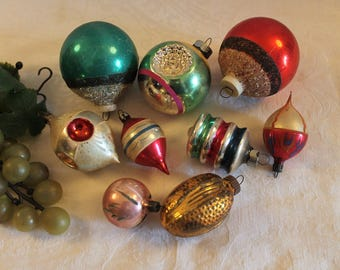 Collection of 9 Beautiful Old Christmas Ornaments