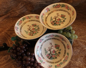 """Set of 3 Crown Clarence Staffordshire Indian Tree Berry Bowls Dessert Dishes 5.5"""""""