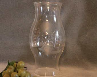 "Schooner or Mast Ship Etched Glass 8.75"" Hurricane Great for your favorite candle!"