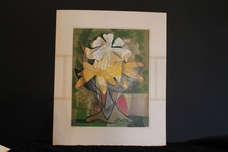 Maccoy Signed 12 by 15.5 Serigraph titled Enclosed Flower Guy C