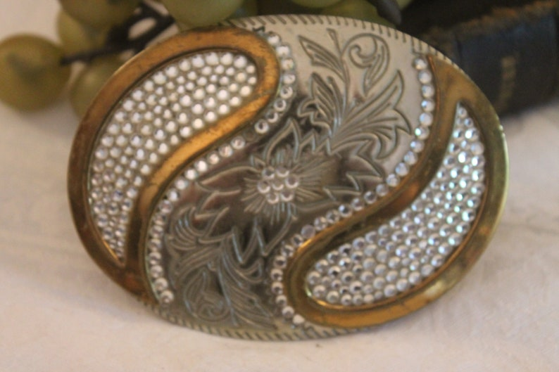 4e8f01e4de7 Vintage Ladies Belt Buckle - German Silver with Gold Accents and Rhinestones