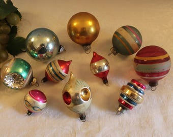 Collection of 10 Beautiful Old Christmas Ornaments