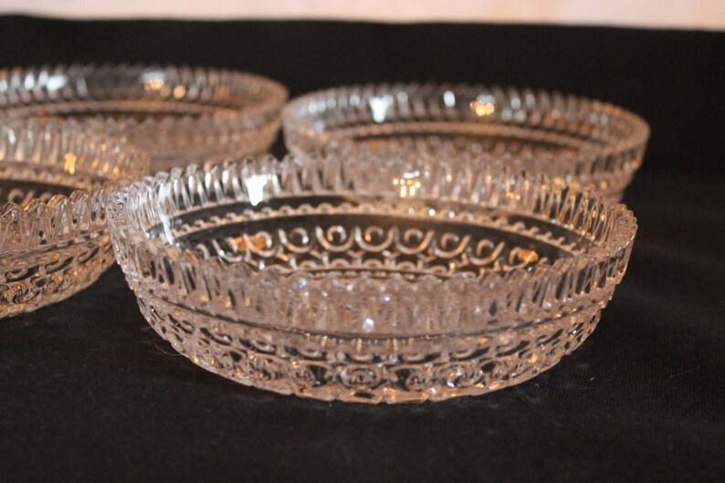 Ensemble de 4 Fostoria cristal 6.25 bols - aristocrate tourbillonnant ou Buzz en verre motif étoile