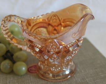 "Circa 1909 Imperial Marigold Carnival Glass ""Fashion"" Creamer Inscribed George and Jennie"