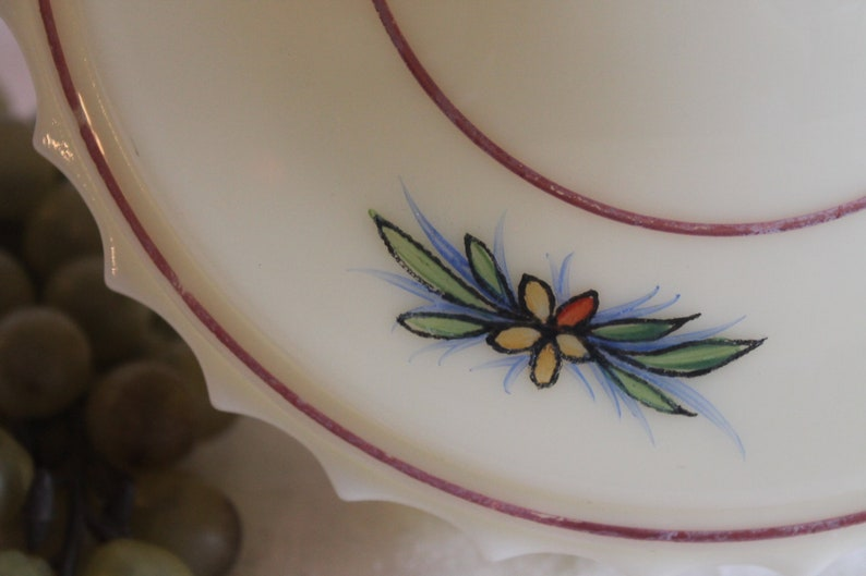 Antique Custard Yellow Glass Replacement Shade for Pendant Light with Hand Painted Flowers
